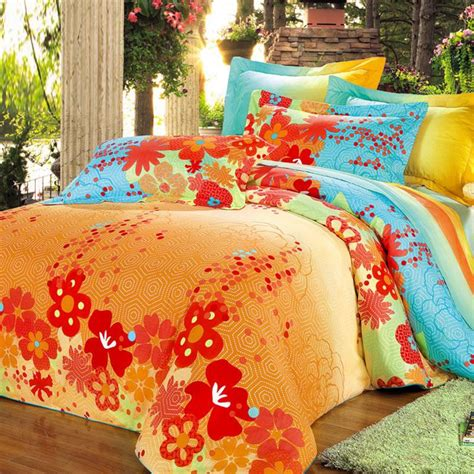 Bright Orange Bedding Set Orange Green And Blue Bright Colorful Geometric Pentagon And Floral Print Size 100