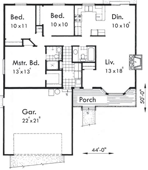 small 3 bedroom house floor plans one level house plan 3 bedrooms 2 car garage 44 ft wide x