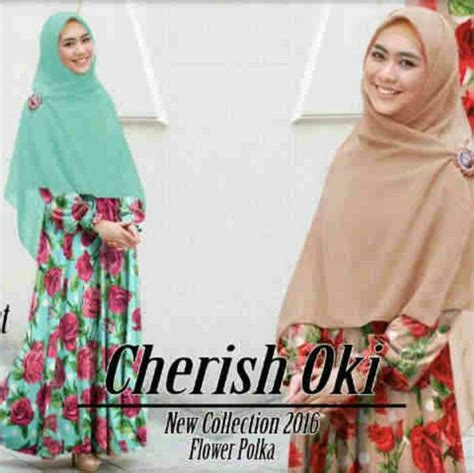 Gamis Terbaru Oki gamis modern cherish oki flower b060 baju muslim terbaru