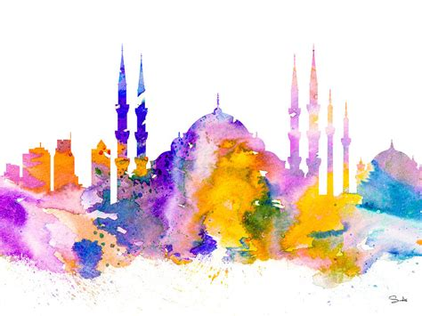 Walldecor Istanbul Watercolor istanbul painting by watercolor