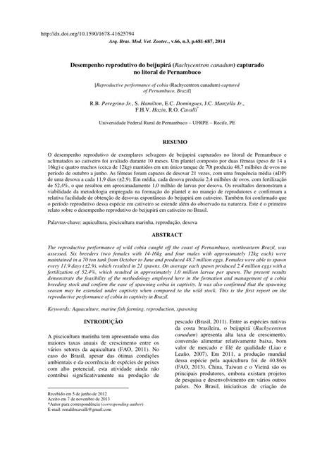 (PDF) Desempenho reprodutivo do beijupirá (Rachycentron