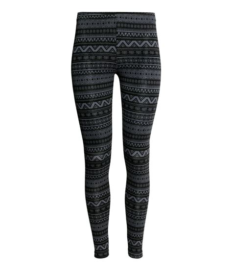 patterned tights h m lyst h m patterned leggings in black