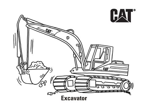 caterpillar excavator coloring pages cat free cat 174 machine and product coloring pages