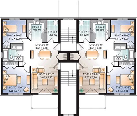 contemporary style multi family plan    bed  bath