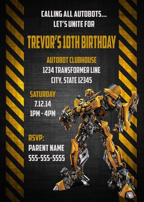 transformer invitation template transformers bumblebee digital birthday invitation