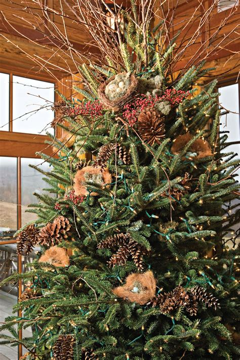 nature themed christmas tree nature inspired decor in the mountains southern living
