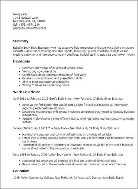 Resume Sample Headers by Auto Body Worker Resume