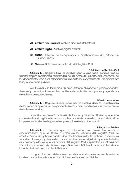 codigo civil para el estado de guanajuato reglamento del registro civil para el estado de guanajuato