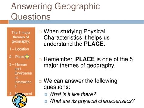 5 themes of geography quiz answers physical characteristics of the united states power point