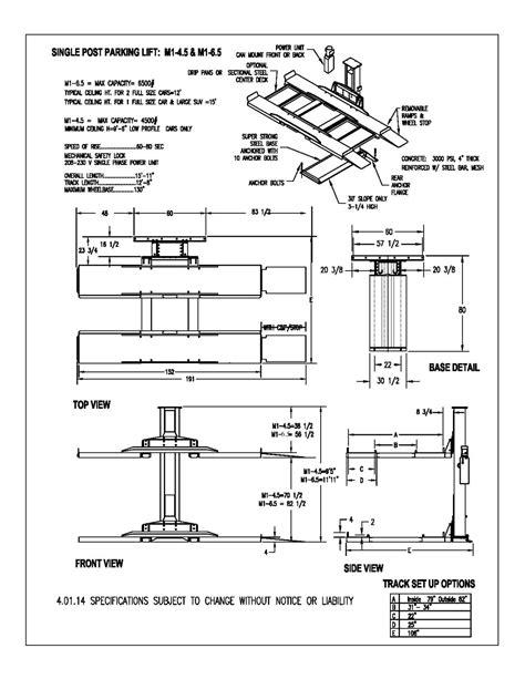 maximumone single post car lift model m1 4 5 and m1 6 5