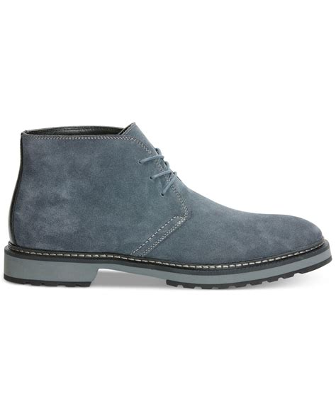 calvin klein agdin suede boots in gray for charcoal