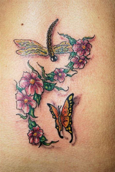 tattoo butterfly dragonfly flowers with butterfly and dragonfly tattoo