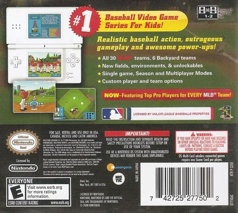 Backyard Baseball Ds by Backyard Baseball 10 2009 Nintendo Ds Box Cover