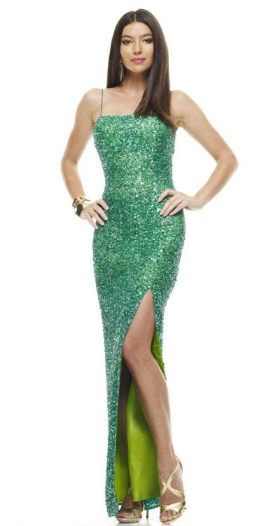 Mm Slkalla Dress scala 47548 sequin evening gown with high slit novelty