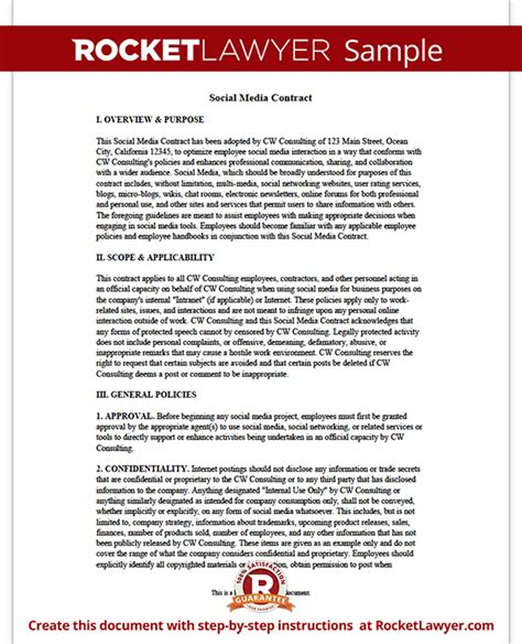 social media contract template social agreement