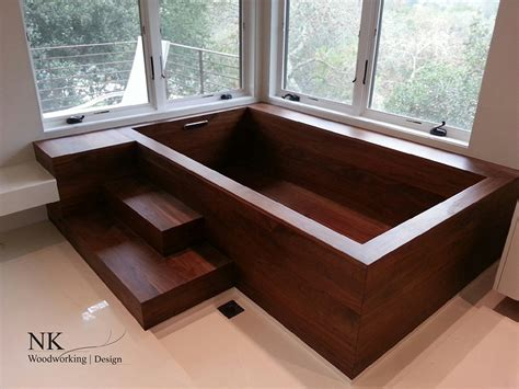 Adagio Sustainable Umbila Wood Tub by Wood Bathtubs Wooden Bath Sculpture By Nk Woodworking