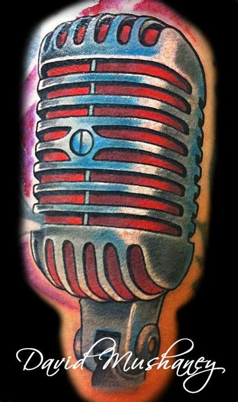 tattoo old school microphone david mushaney tattoos tattoos realistic vintage