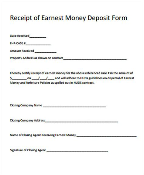 receipt template for escrow money earnest money deposit agreement template 28 images 28