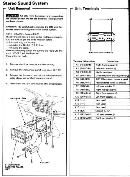 94 accord ex radio wiring honda tech honda forum discussion