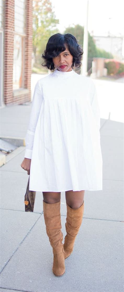 white shirt dress denim cape denim jacket otk boots