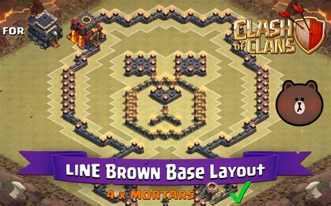 coc layout funny clash of clans th9 th10 fun base layout line brown