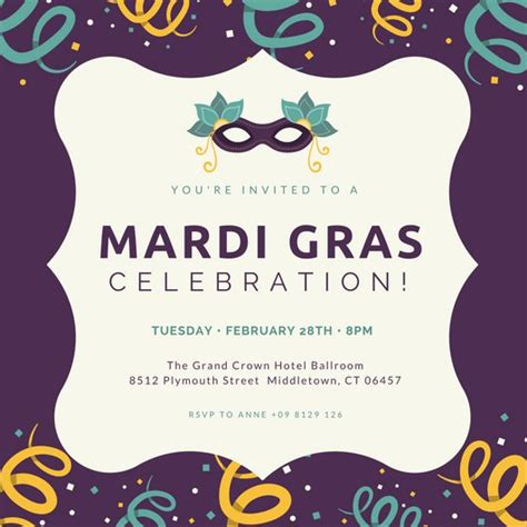 free mardi gras invitation templates invitation template canva choice image invitation sle