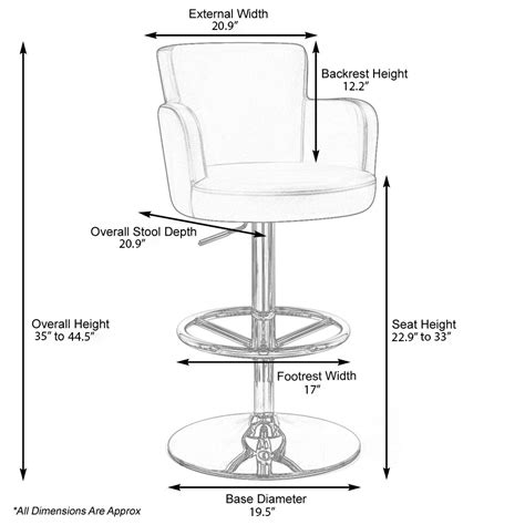 bar stool dimensions standard chateau adjustable height swivel bar stool with chrome