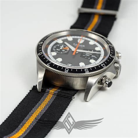 Tudor Heritage Chronograph Grey Black Dial Black/Orange NATO Woven Strap Stainless Steel Case