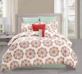 8 piece full jemila red aqua comforter set ebay