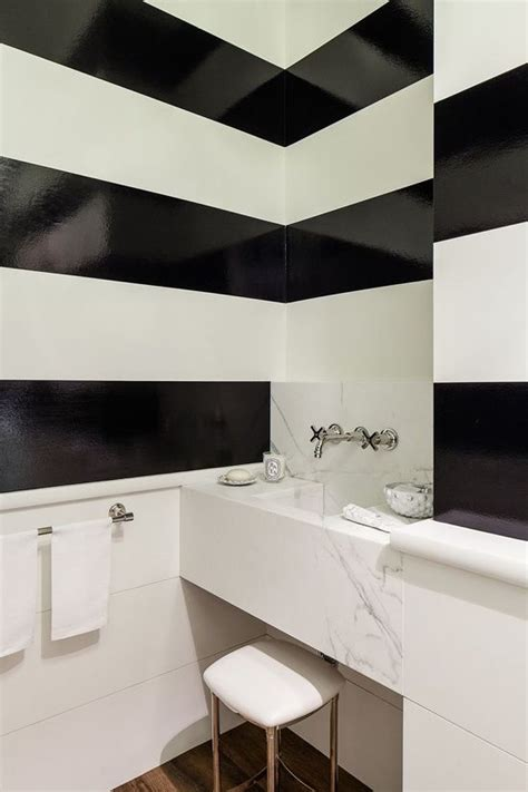 high gloss bathroom paint high gloss paint black white stripes powder room very