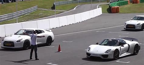 nissan spyder porsche 918 spyder vs 1 325 hp nissan gt r drag race
