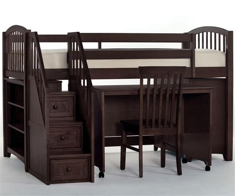low loft bed with desk house chocolate finish junior store and