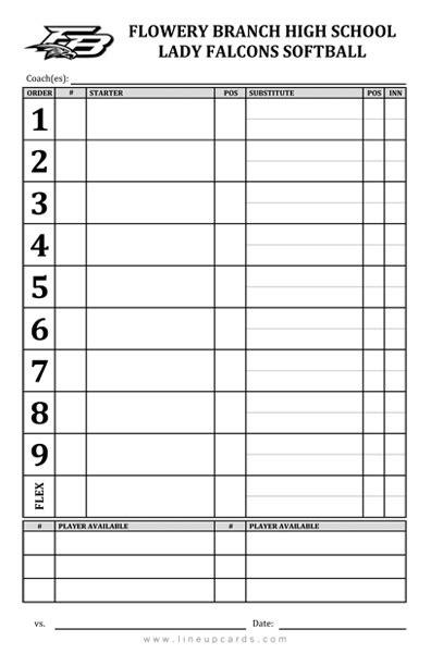 softball batting lineup card template custom high school softball lineup cards 4 part lineup