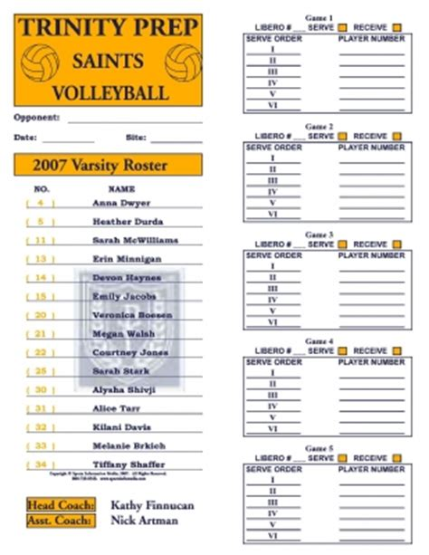 printable high school volleyball lineup sheets volleyball roster cards full page 30