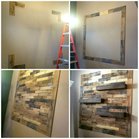 dining room remodel pallet wall floating shelves pallet wall with floating shelves home design garden
