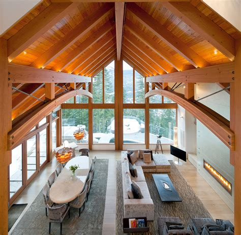 Mountain Homes Interiors by Luxury Timber Frame Mountain Retreat In Whistler