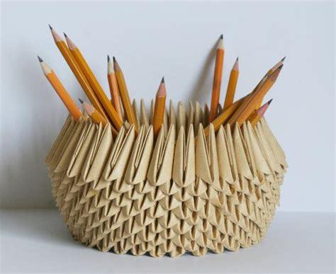 Origami Pencil Cup - paper bowl paper anniversary origami pencil holder