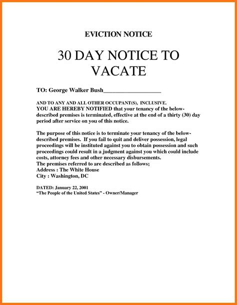 free 30 day notice to vacate template vacate apartment template eviction notice sle 12871662