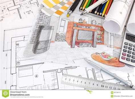 interior design drawing tools interior designer workspace with sketches of apartment and