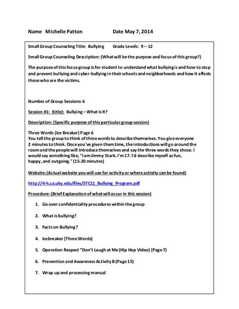 guidance lesson plan template small counseling project lessons template
