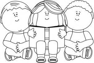 black white black and white kids reading clip art black and white kids reading image