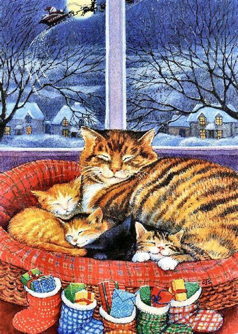 christmas cat kittens holidays christmas cute critters cats christmas cats cat art