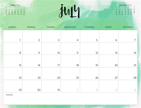 july  colorful calendar  office desk calendar