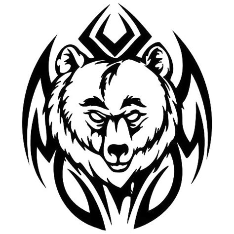 tribal head bear tattoo design