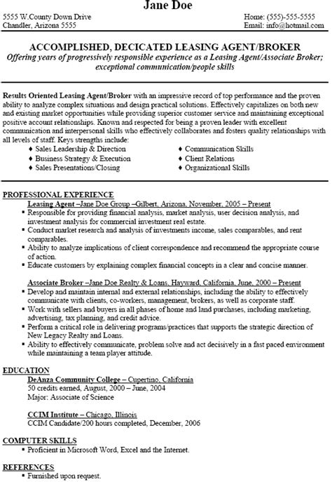 sample leasing agent resume resume leasing agent position with