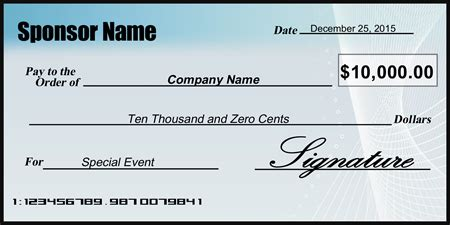 Charity Donation Presentation Check Signazon Oversized Check Template Free