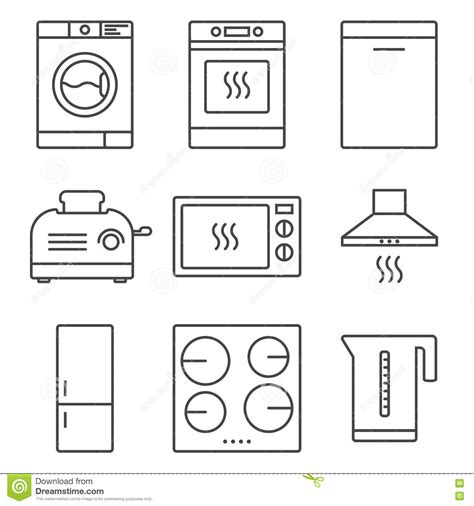 vintage home appliances icons stock vector illustration refrigerator appliance kitchen thin line vector