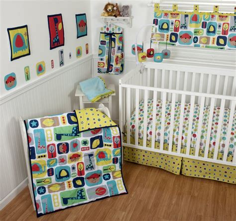Sumersault Zoo Squares Crib Bedding Collection Baby Zoo Crib Bedding