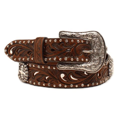 ariat womens brown belt with conchos and studs