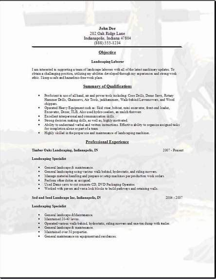 landscaping resume occupational exles sles free edit with word